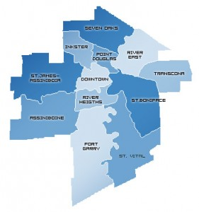 District Map for the City of Winnipeg Manitoba Canada
